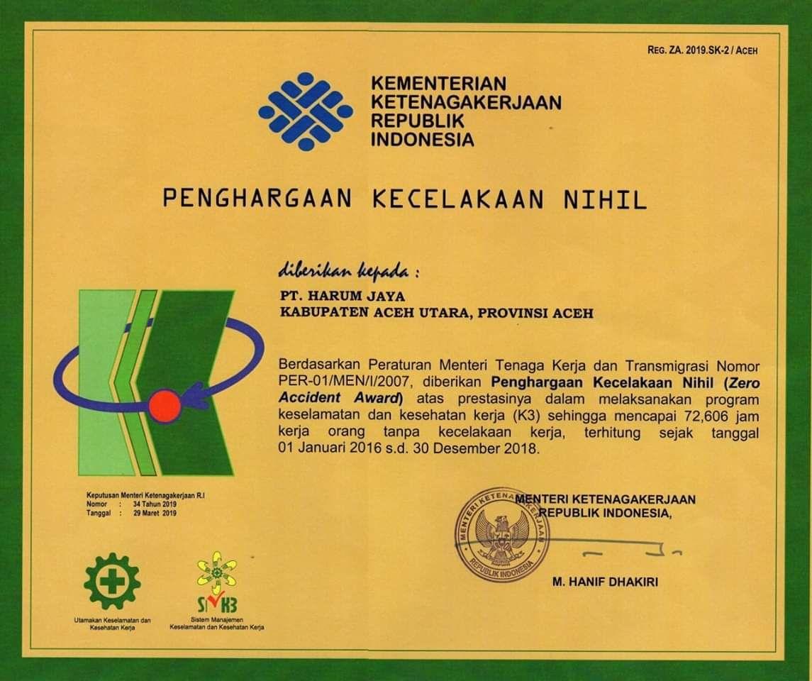 PT Harum Jaya Tenerima Penghargaan Zero Accident dari Kemnaker